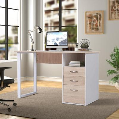 Simple Design Oak Computer Desk with Cabinet and Drawers
