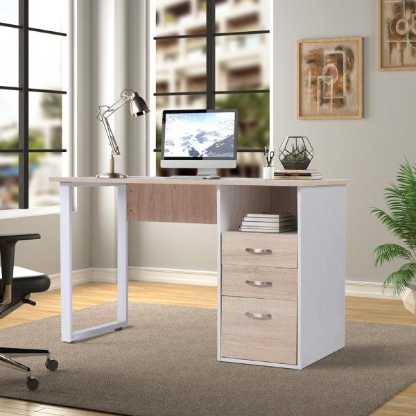 Merax Simple Design Oak Computer Desk With Cabinet And