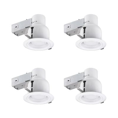 4 in. White Recessed Outdoor Baffle Lighting Kit Flood-Light (4-Pack)