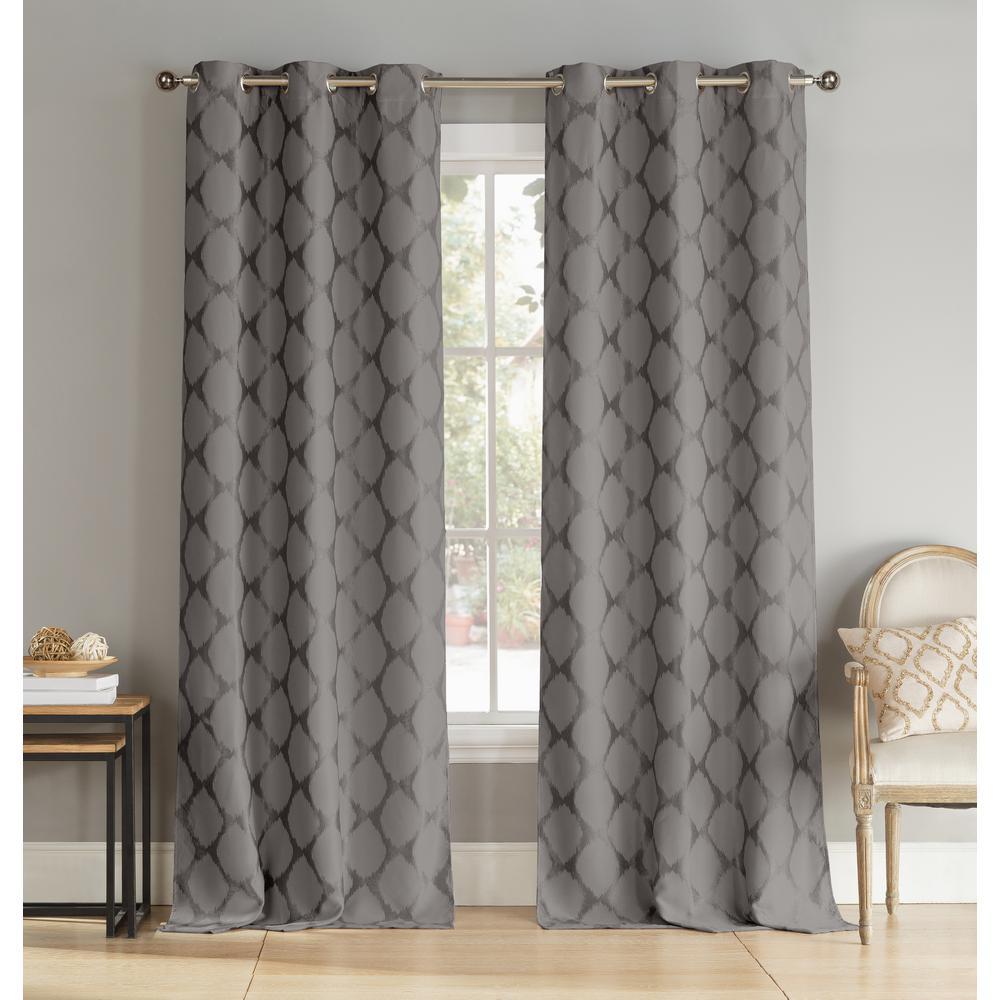 Geometric Dark Grey Polyester Blackout Grommet Window Curtain 36 in. W x 96 in. L (2-Pack)