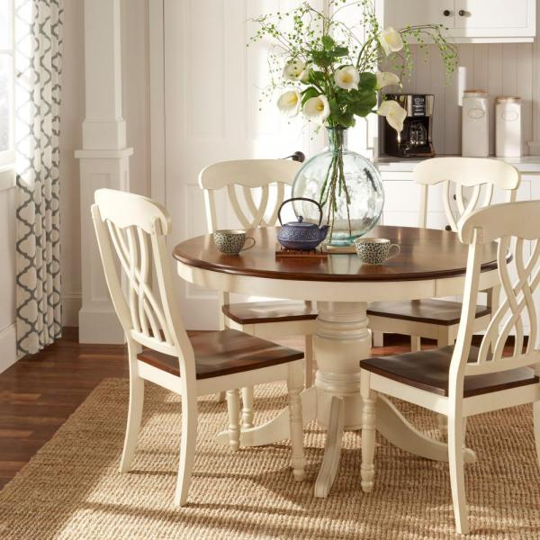 Homesullivan 5 Piece Antique White And Cherry Dining Set 401393w 48 5pc The Home Depot