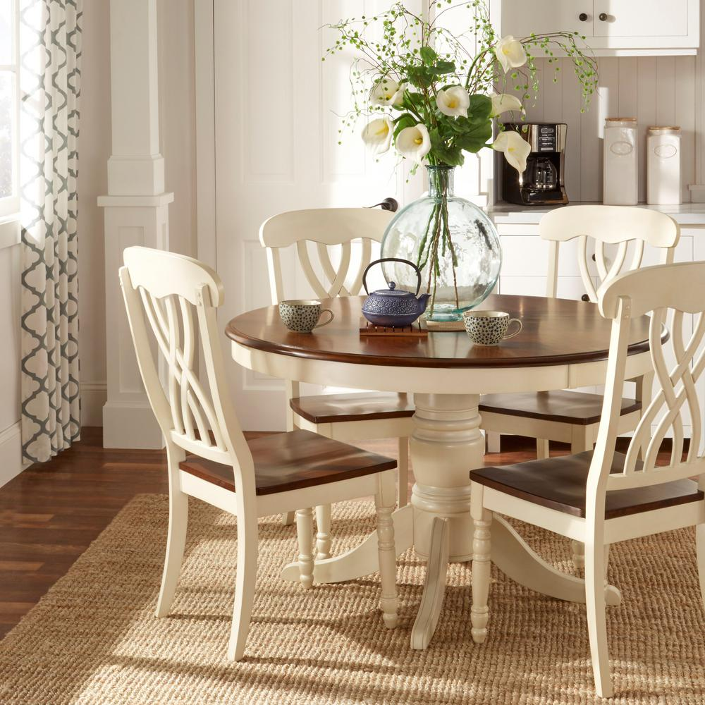 HomeSullivan 5 Piece Antique White and Cherry Dining Set W