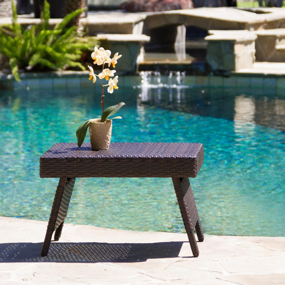 Noble House Salem Brown Rectangular Wicker Outdoor Side Table