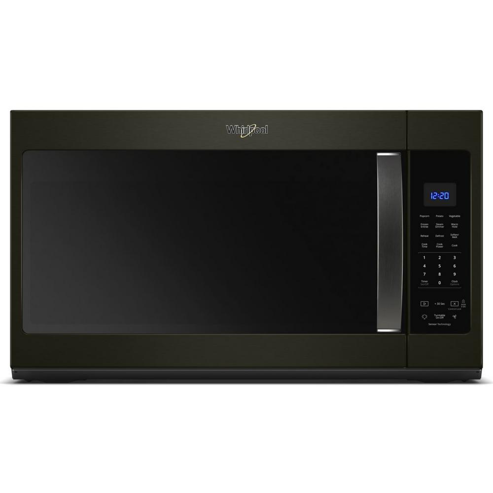 Whirlpool 1.9 cu. ft. Over the Range Microwave in Fingerprint Resistant Black Stainless with Sensor Cooking