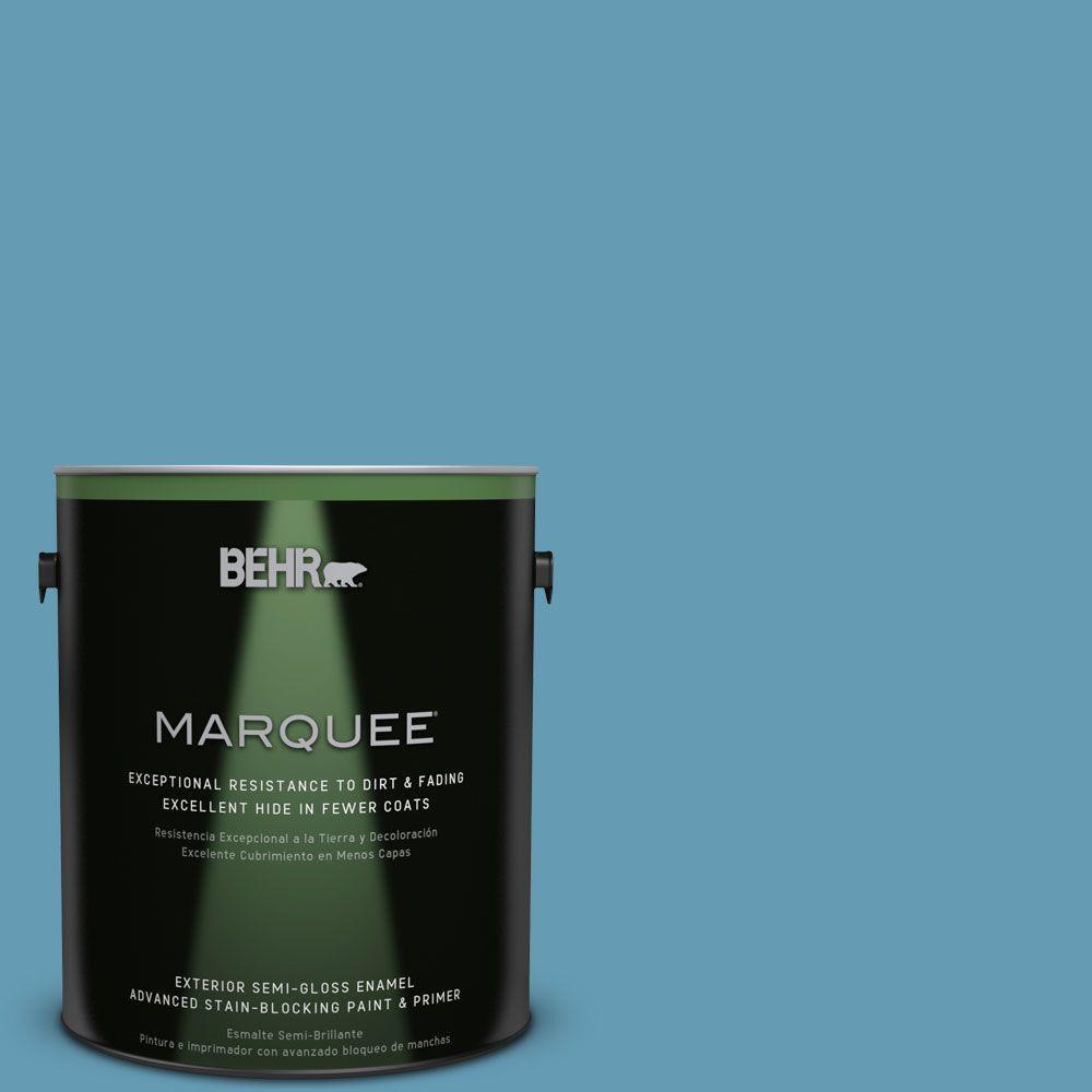 BEHR MARQUEE 1-gal. #S490-4 Yacht Blue Semi-Gloss Enamel Exterior Paint