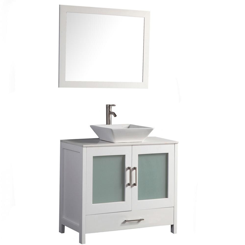 Jordan 48 in. W x 18.5 in. D x 36 in. H Vanity in White with Quartz Vanity Top in Off-White with White Basin and Mirror