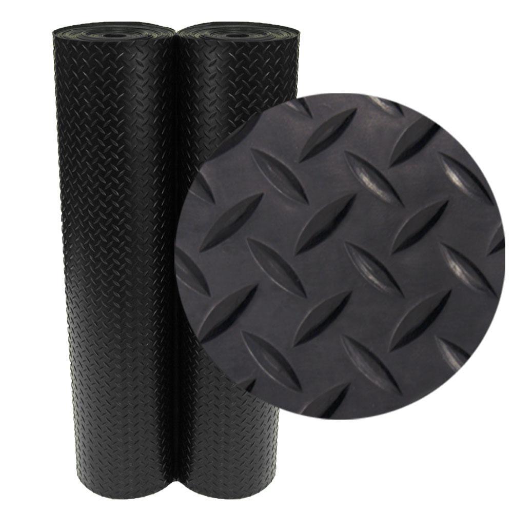 Superior Rubber Cal Diamond Plate 4 Ft. X 15 Ft. Black Rubber Flooring (