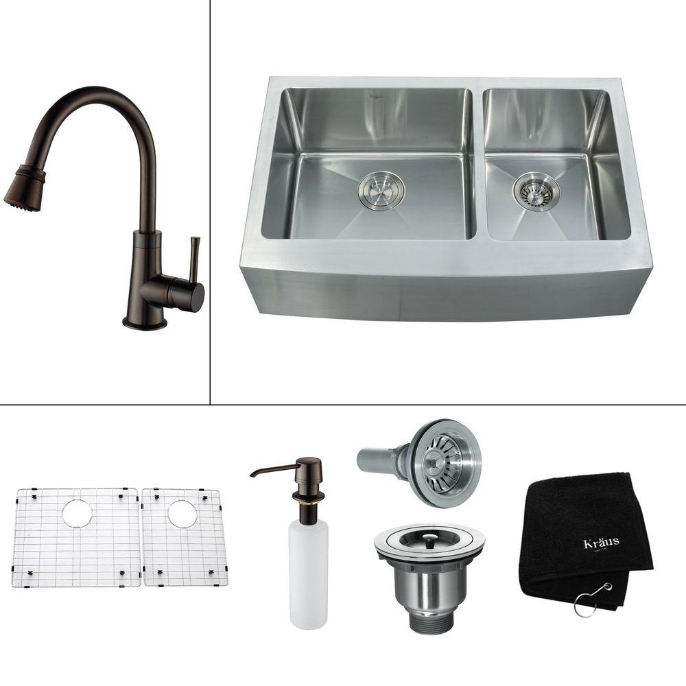 KRAUS All-in-One Farmhouse Apron Front Stainless Steel 33 in. 0-Hole Double Bowl Kitchen Sink w/ Oil Rubbed Bronze Accessories