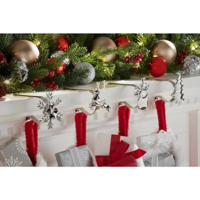 Silver, Adjustable Metal Christmas Stocking Holder with Assorted Clip-On Icons (4-Pack)