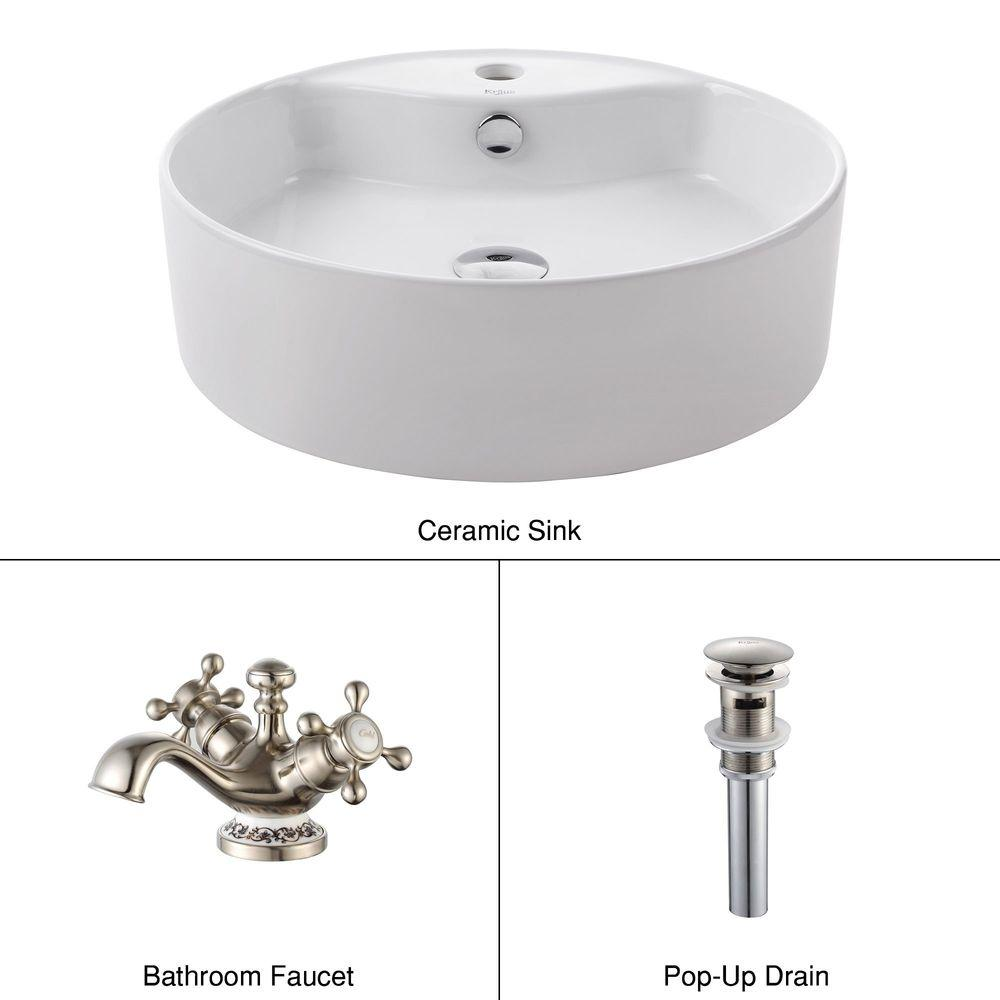 KRAUS Round Ceramic Sink in White with Apollo Basin Faucet in Brushed Nickel-DISCONTINUED