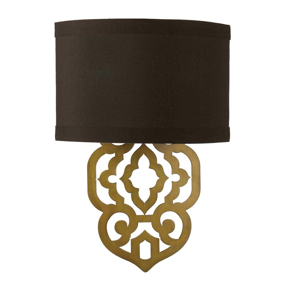 Af Lighting Grill 2 Light Gold Foil Sconce With Chocolate