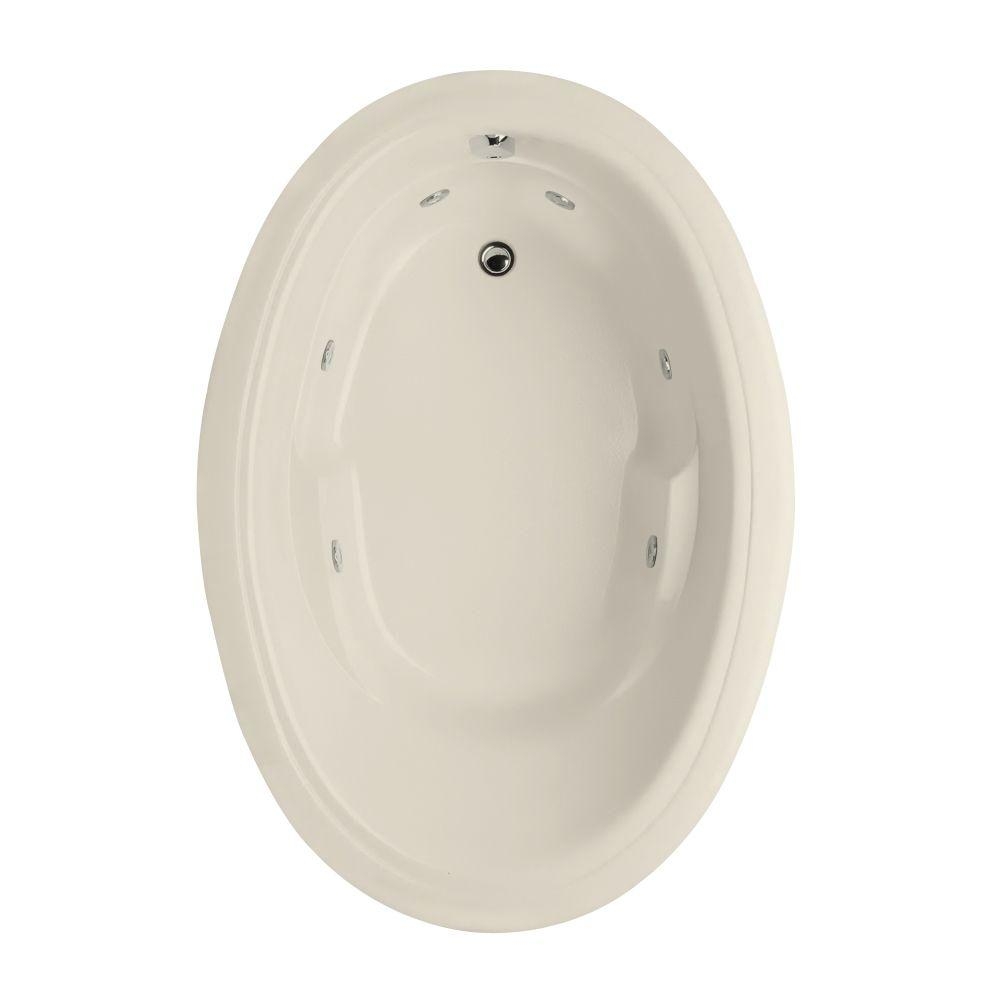 Studio Oval 6 ft. Reversible Drain Whirlpool Tub in Biscuit