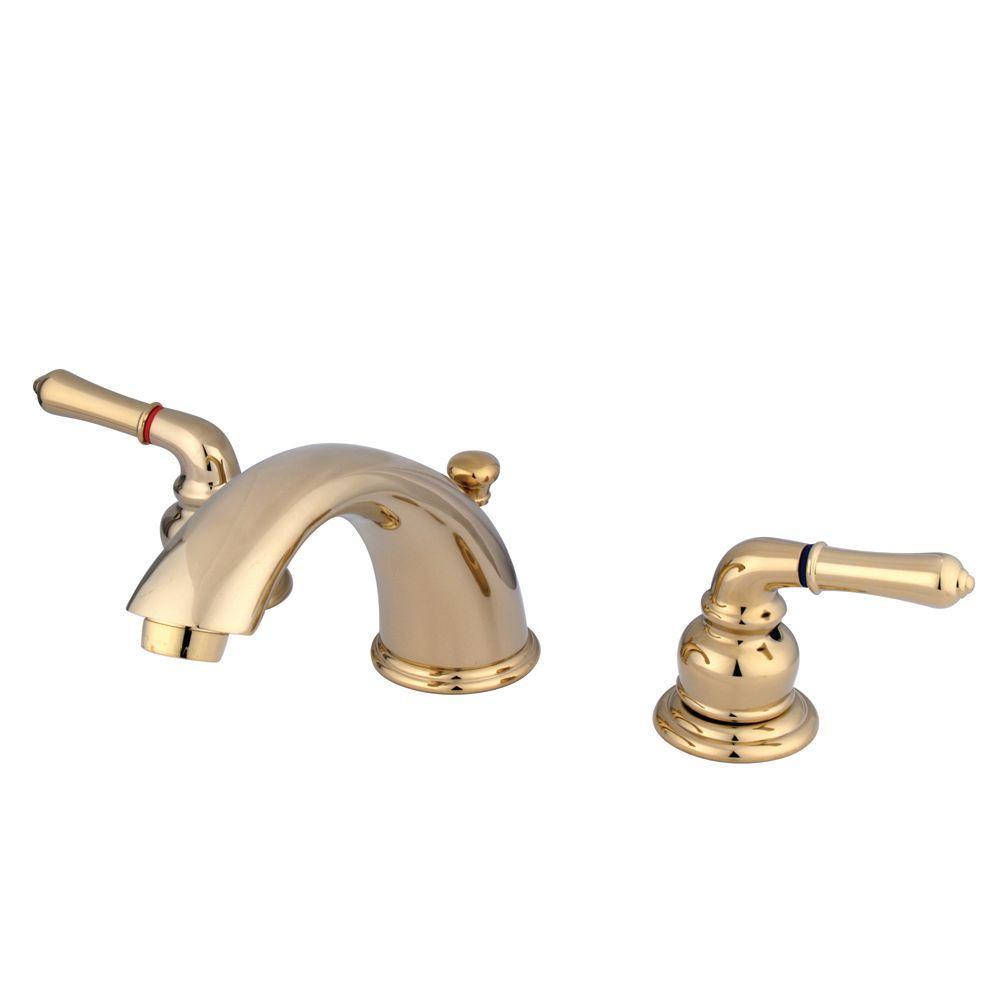 Kingston Brass 8 in. Widespread 2-Handle Mid-Arc Bathroom Faucet in Polished Brass