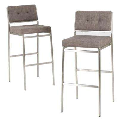 Qyto 30 in. Light Grey Tufted Fabric Barstools (Set of 2)