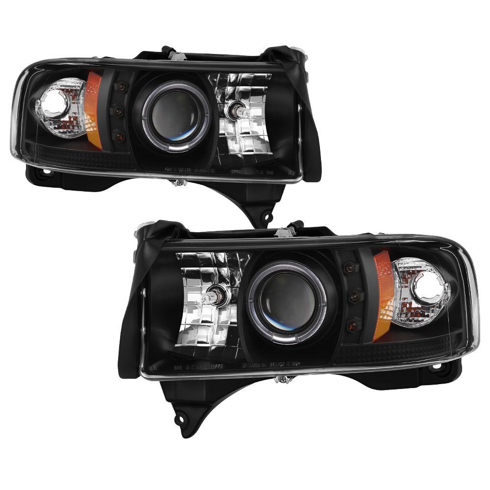 Dodge Ram 1500 94 01 2500 3500 02 99 Sport Projector Headlights Led Halo Black