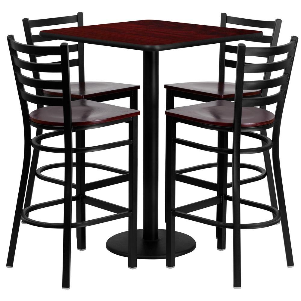 5-Piece Mahogany Top/Mahogany Wood Seat Table and Chair Set