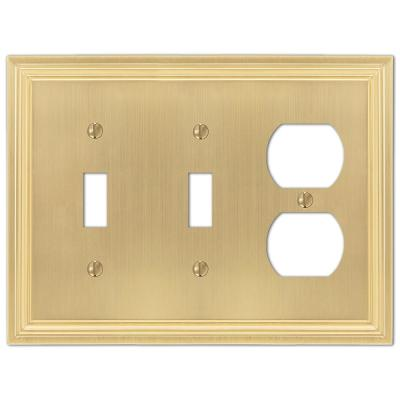 Hallcrest 3 Gang 2-Toggle and 1-Duplex Metal Wall Plate - Satin Brass