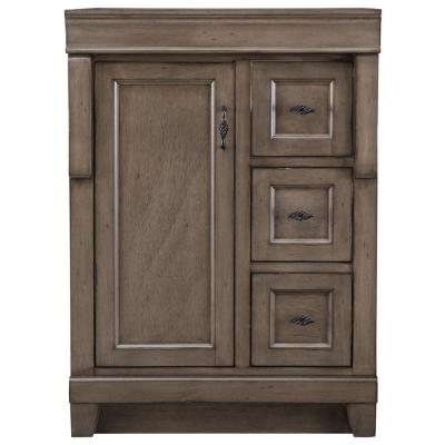 Naples 24 in. W Bath Vanity Cabinet Only in Distressed Grey with Right Hand Drawers