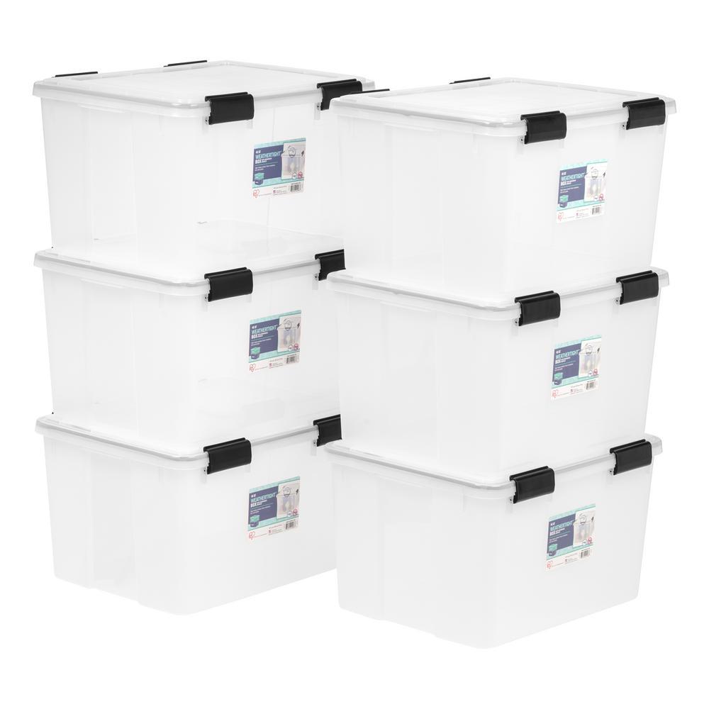 IRIS 46-Qt. Weathertight Storage Box in Clear (6-Pack)