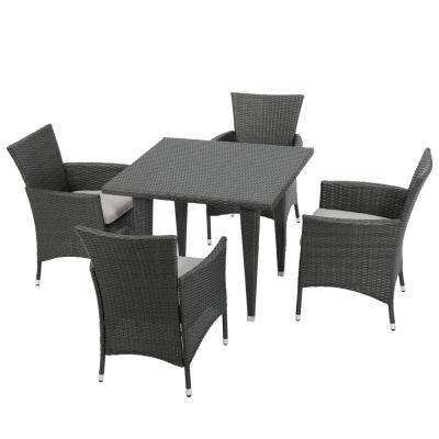 Malta Grey 5-Piece Wicker Square Outdoor Dining Set with Silver Cushions