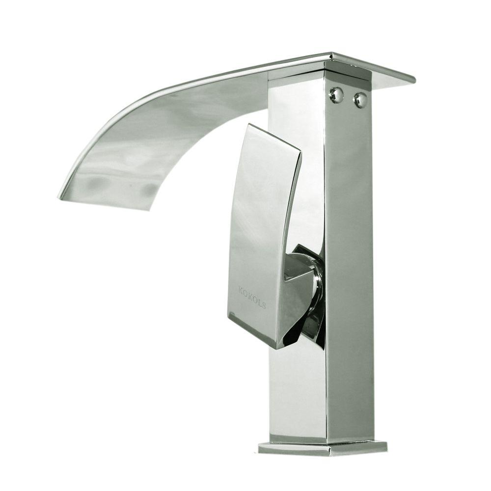 Kokols Accent Series Single Hole 1 Handle Cascade Waterfall Vessel Bathroom Faucet In Chrome