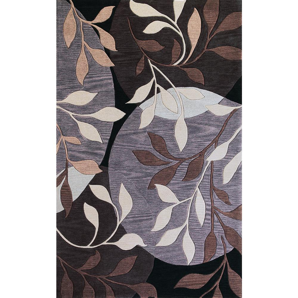 Kas Rugs Modern Leaf Plum/Black 3 ft. x