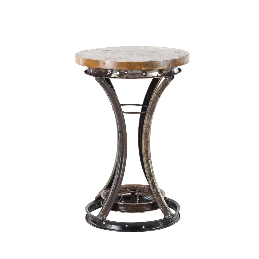 Brown Rim Accent Table with Brass Body