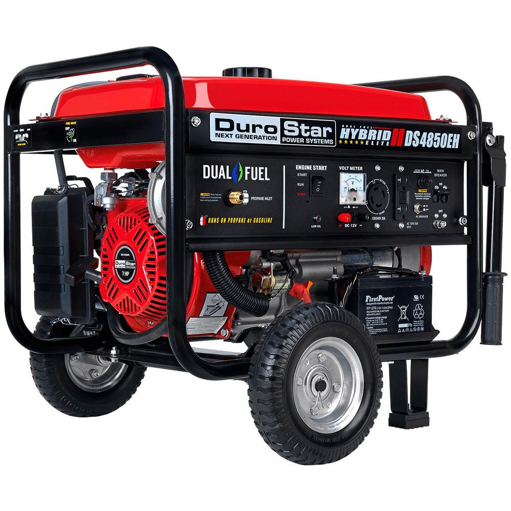 Durostar 4850-Watt/3850-Watt Dual Fuel Hybrid Propane/Electric Start Gasoline Powered Portable Generator