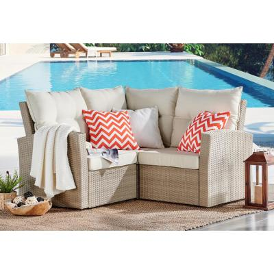 Canaan Brown All-Weather Wicker Corner Sectional Sofa with Cushions with Cream Cushions