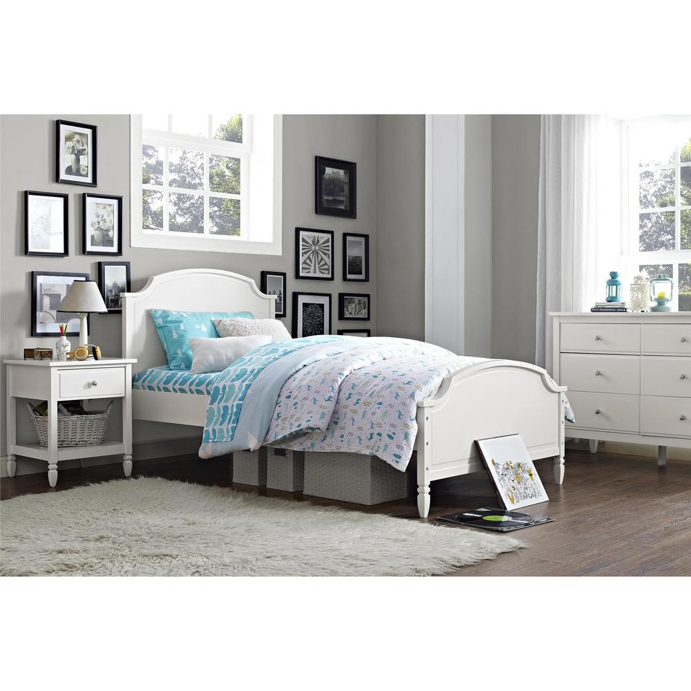 Dorel Living Vivienne Twin Size Wooden Bed Frame In White