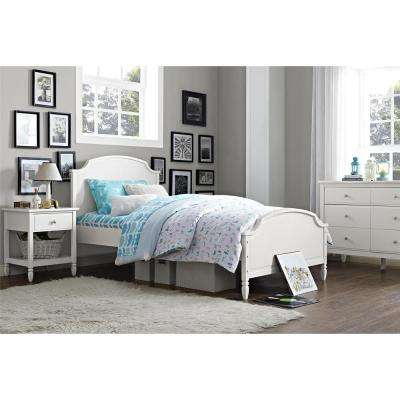 Vivienne Twin Size Wooden Bed Frame in White