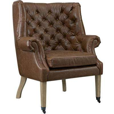 Chart Brown Upholstered Vinyl Lounge Chair