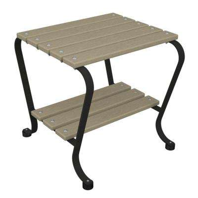 18 in. Black and Sand Patio Side Table