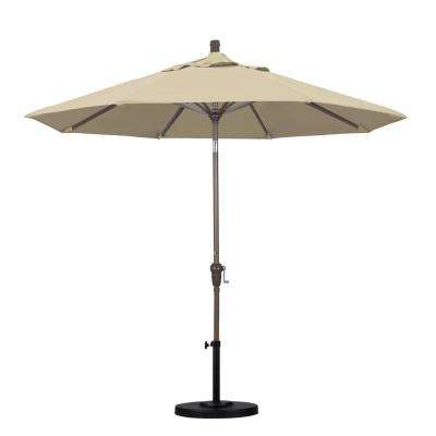 9 ft. Aluminum Auto Tilt Patio Umbrella in Beige Pacifica