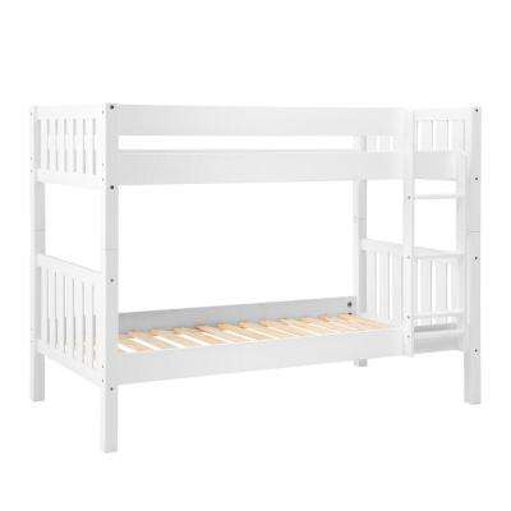 White Solid Wood Cottage Slat Bunk Bed