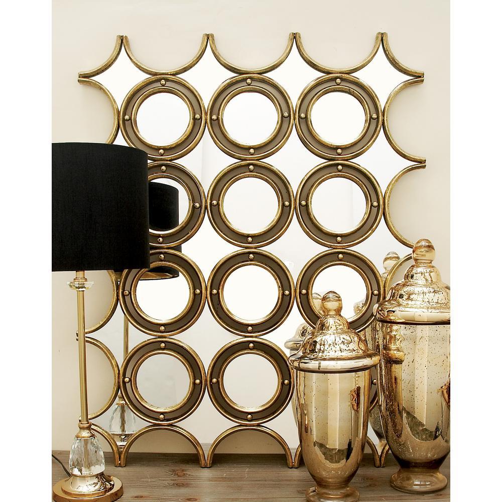 modern rectangular perforated wall mirror