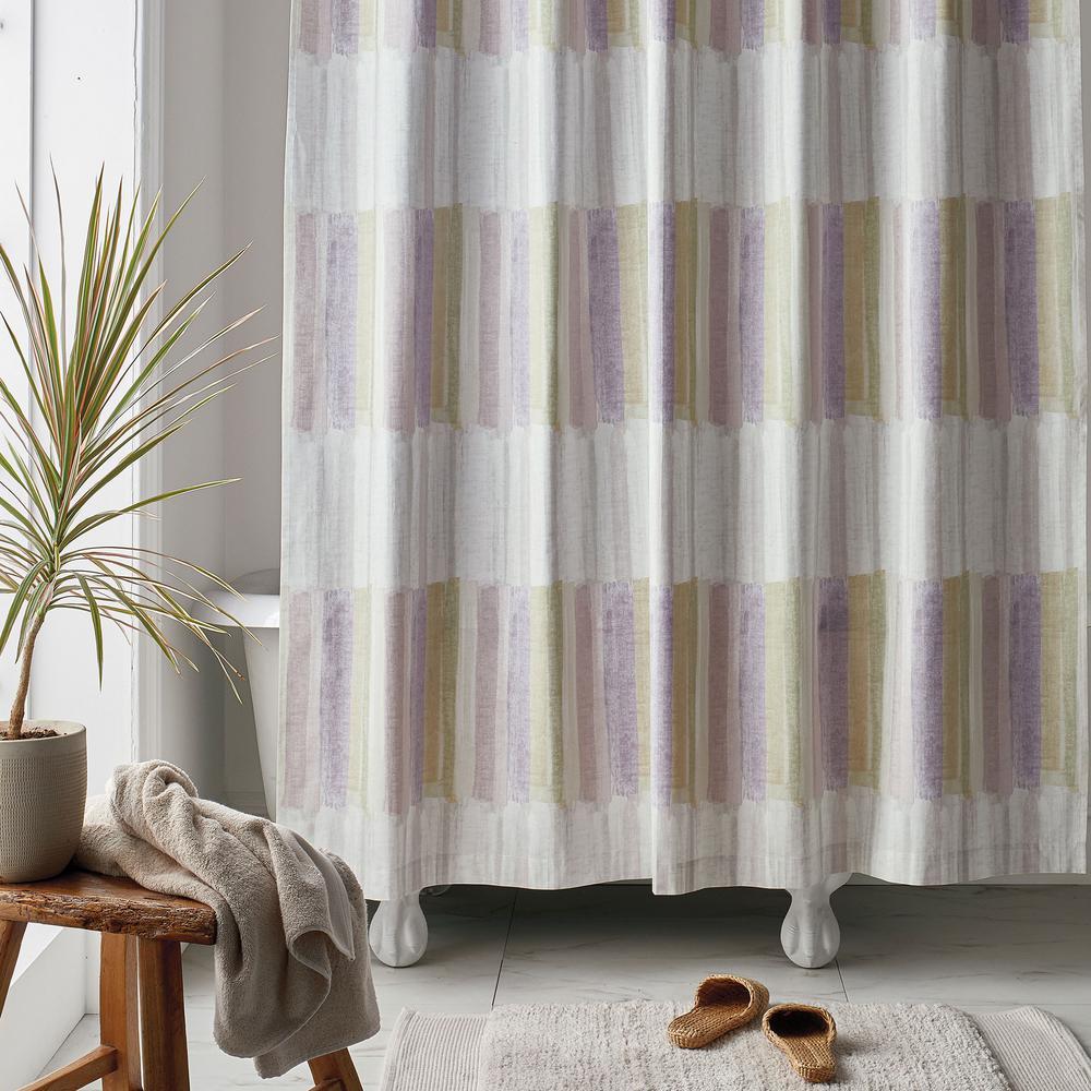 Watercolor Stripe 72 in. Multi Organic Cotton Percale Shower Curtain