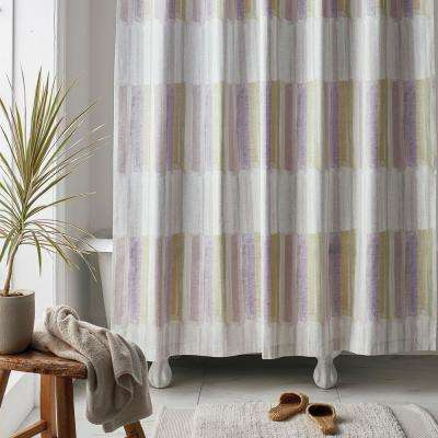 Watercolor Stripe 72 in. Multi Organic Cotton Percale Shower Curtain