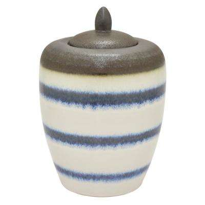14 in. White Ceramic Jar with Lid