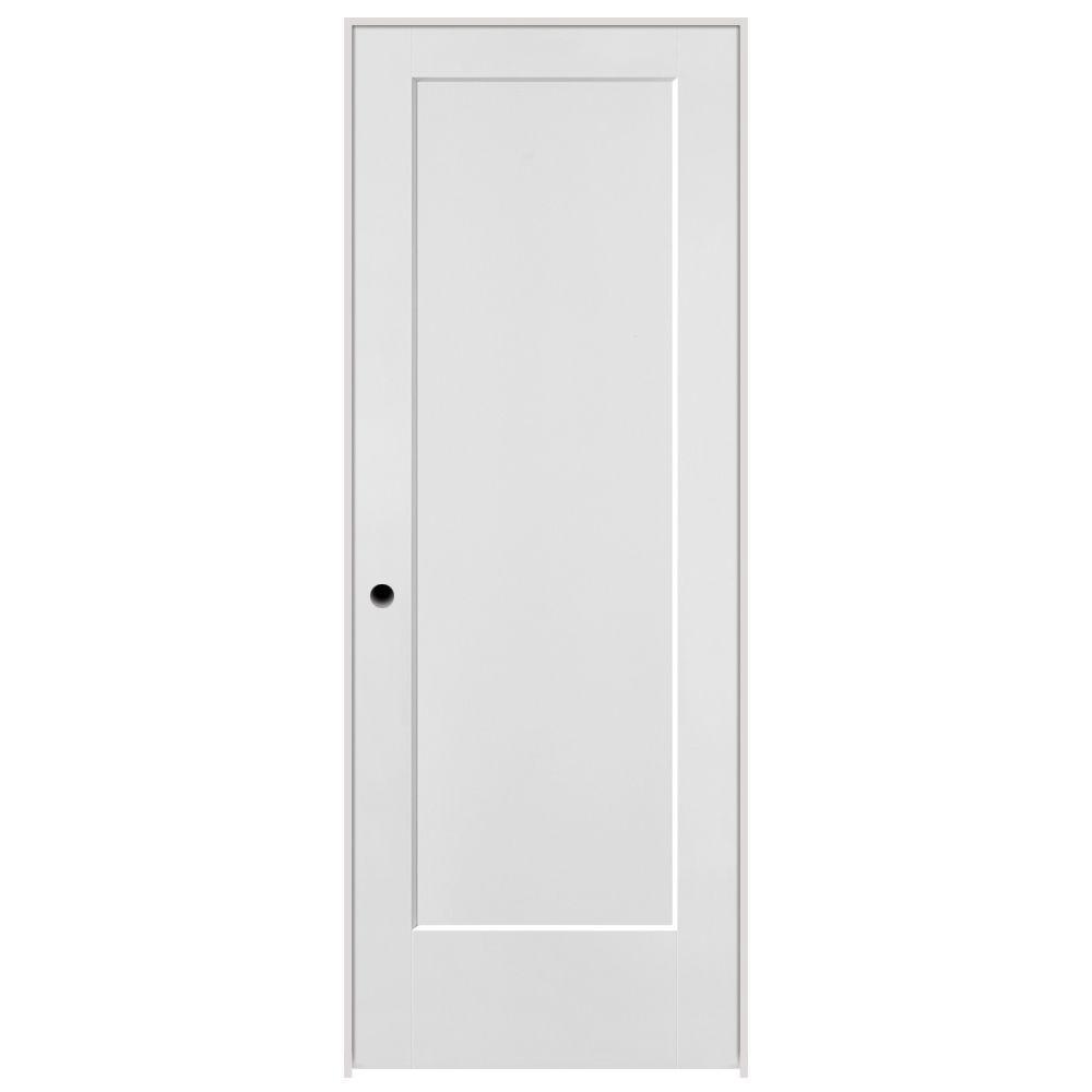 Masonite 30 in. x 80 in. Lincoln Park 1-Panel Right-Handed Hollow-Core Primed Composite Single Prehung Interior Door