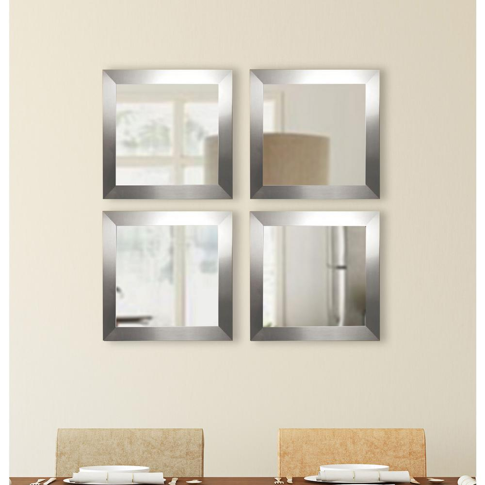 Silver Wide Square Wall Mirrors Set Of 4