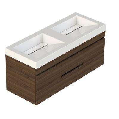 Viteli Plus Genova 48 in. W x 19 in. D Vanity in Walnut with Cultured Marble Vanity Top in White with Double White Basin