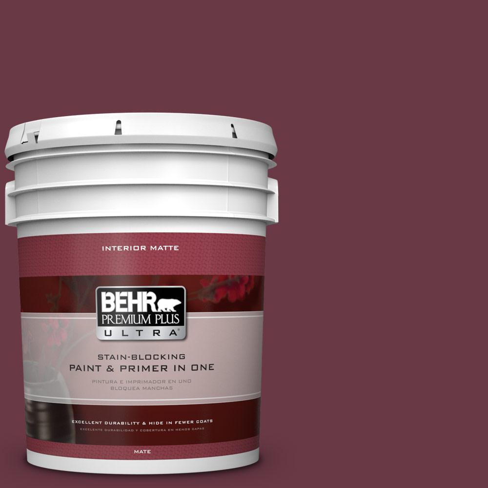 BEHR Premium Plus Ultra 5 gal. #110D-7 Vin Rouge Flat/Matte Interior Paint