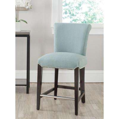 Seth 25.9 in. Sky Blue Cushioned Bar Stool