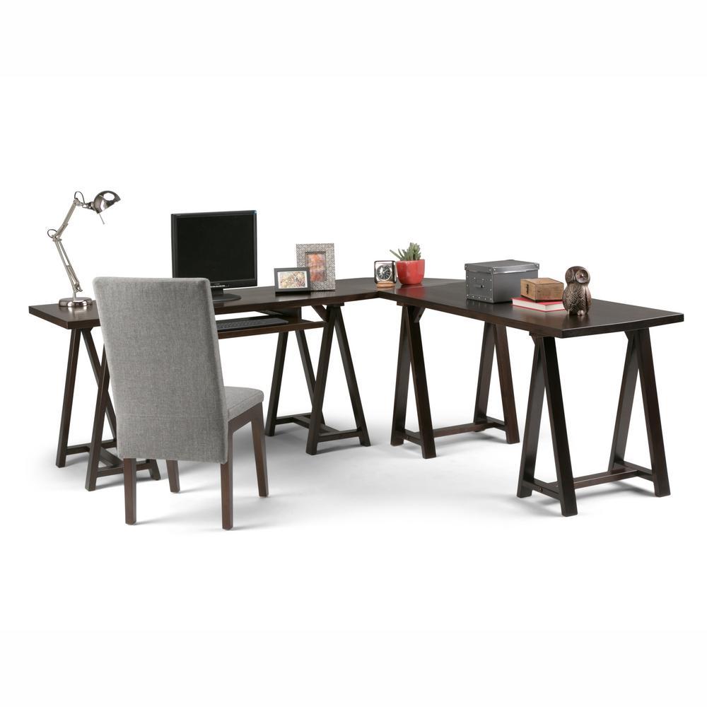 Sawhorse Dark Chestnut Brown Desk