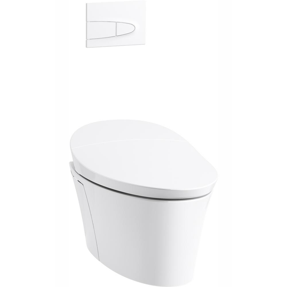 KOHLER Veil 1-Piece 0.8 or 1.6 GPF Dual Flush Elongated Wall-Hung Toilet in White, Components Included