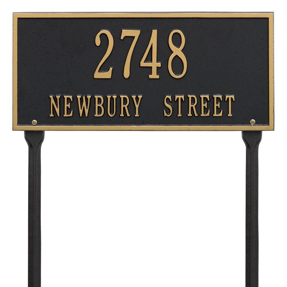 Whitehall Products Hartford Rectangular Black/Gold Standard Lawn 2-Line Address Plaque