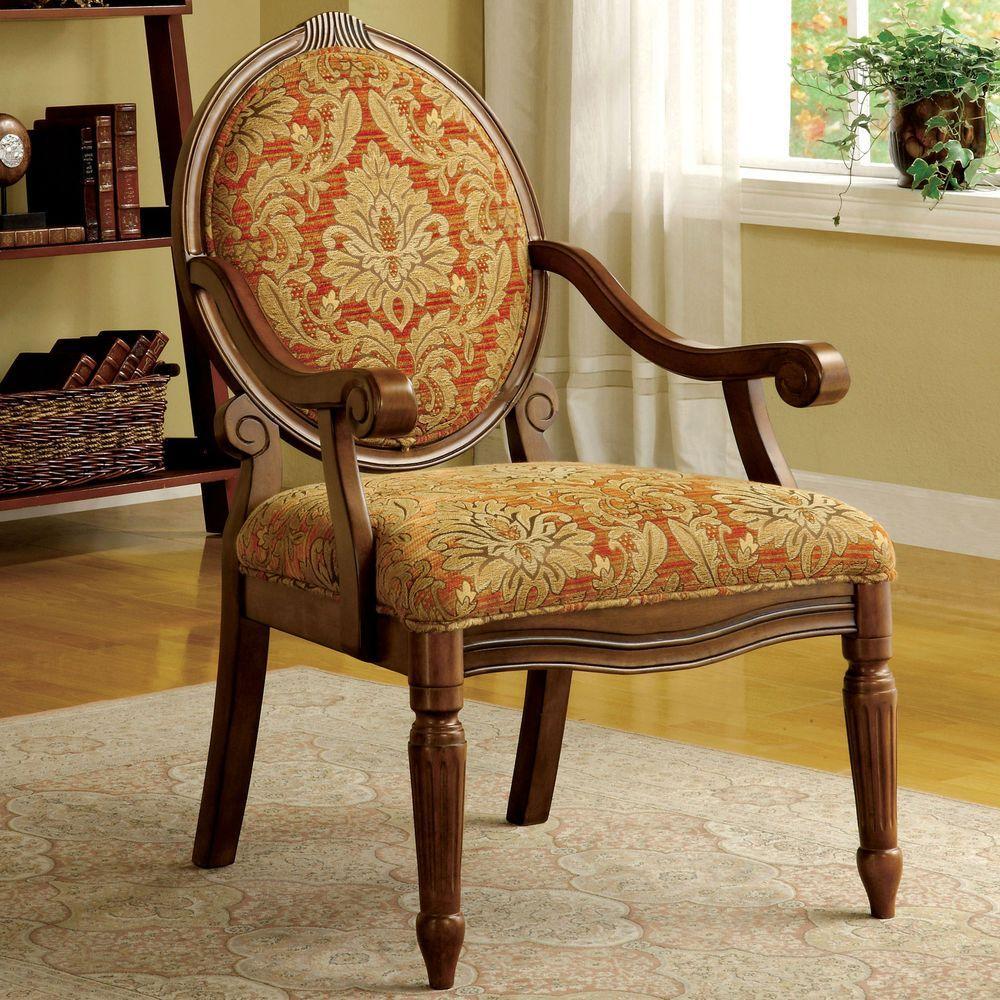 Hammond Ruby & Gold Fabric Arm Chair - Hammond Ruby & Gold Fabric Arm Chair-CM-AC6024 - The Home Depot