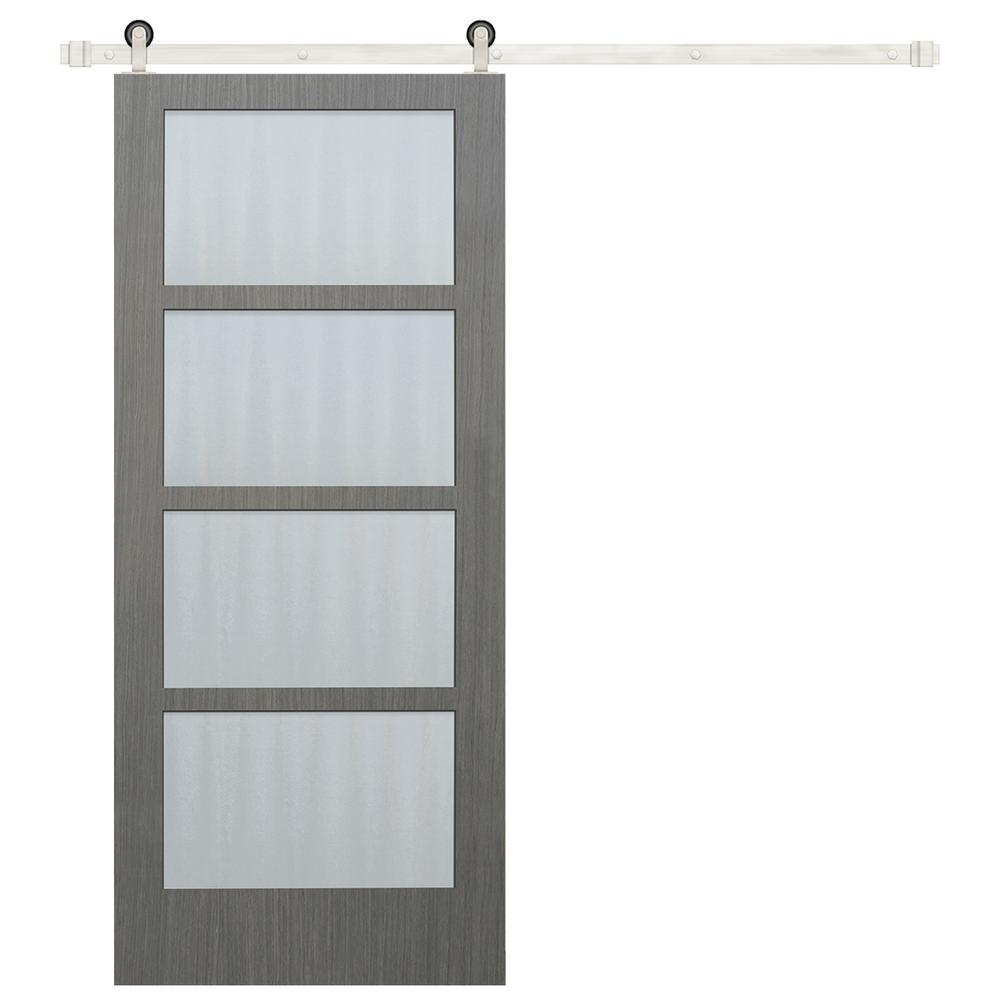 Beau Pacific Entries 30 In X 84 In 4 Lite Clear Coat Driftwood Mistlite Glass  Barn