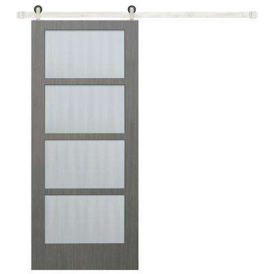 30 in x 84 in 4-Lite Clear Coat Driftwood Mistlite Glass Barn Door with Stainless Steel Sliding Door Hardware Kit
